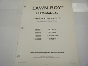 NEW LAWN BOY PARTS MANUAL TRIMMER ATTACHMENTS-- USE ON MODEL 1400CL ONLY  1988