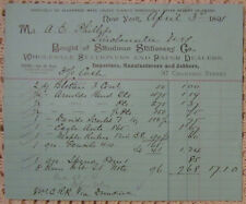 Steadman Stationery Co.-Invoice,Wholesale Stationery and Paper,New York NY 1891