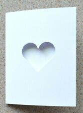 5 Double Fold White Card Blanks 110 x 86mm with 4cm Heart Aperture & Envs NEW