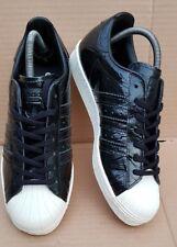 Nuevas Zapatillas Adidas Superstar años 80 Efecto Negro Patente Reptil Talla 6 Reino Unido encantadora