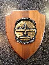 USS Holland AS 32 Solid Brass Emblem on Wooden Plaque United States Navy  |
