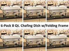 (6-Pack) Full Size 8 Qt. Stainless Steel Chafing Dishes with Folding Frames