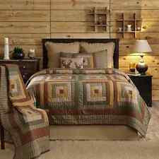 TALLMADGE Twin Quilt Primitive Green/Tan/Brown Log Cabin Rustic Lodge Country