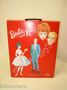 VINTAGE BARBIE & KEN DOUBLE DOLL TRUNK CASE SATURDAY DATE & PARTY DATE RED