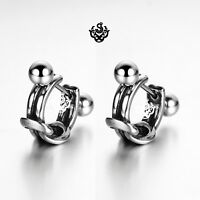 Silver stud knot stainless steel earrings huggies cuff screw on Soft Gothic