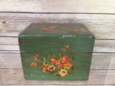 Vintage Floral Painted Small Wooden Box French Country Shabby Chic Green
