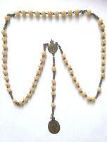 Sacro Rosario antico con pietre rosa e medagline Immacolta e Vergine di Pompei (