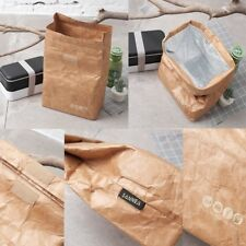 Brown Paper Lunch Bag Reusable Insulated Thermal Cooler Sack Magnetic Closure