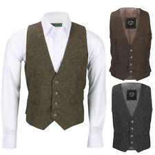 Mens Vintage Oak Brown, Grey Tweed Wool Waistcoat Smart Casual Tailored Fit Vest