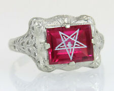 Antique Estate 14K White Gold Ruby Order of Eastern Star Masonic Ring A&S Ladies