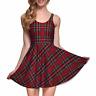 Red Plaid Trendy Tartan School Girl Stretchy Lightweight Summer Skater Dress
