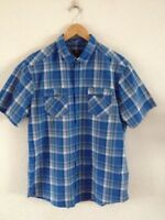 Mens Shirt L Short Sleeve Blue Check  <R18305z