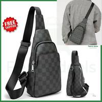 Men's Leather Backpack Sling Bag Crossbody Chest Shoulder Purse Handbags Travel