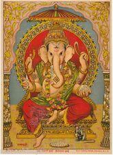 Rare Vintage Oleograph/Lithograph Print of Ravi Varma Painting: Ganapati