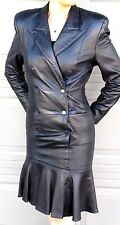 NORTH BEACH BLACK LEATHER MILITARY DRESS  - DOUBLE FRONT SNAPS  - SMALL