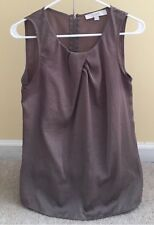 The LOFT Sleeveless Taupe Blouse Sz Small Zip-Accent on Back Retail $60