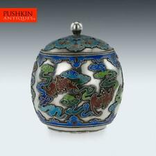 ANTIQUE 19thC CHINESE EXPORT SOLID SILVER & ENAMEL POT WITH COVER c.1880