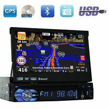 "7"" Single 1 DIN Car CD DVD Player GPS NAV Bluetooth HD Touch Screen Stereo Radio"