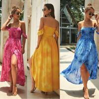 Sundress Boho Maxi Cocktail Long Dress Women's Evening Summer Beach Party Floral