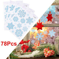 Reusable Christmas Window Self Cling Stickers 78 Snowflake w/Glitter Iridescent