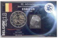 2 Euro Coincard / Infokarte Belgien 2018 Satellit ESRO-2B
