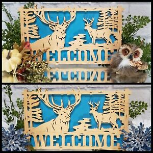 Rustic WELCOME Deer Forest Sign CMAS Gift Decor Primitive Fall Harvest Cabin