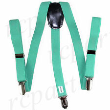 New Kid's Boy's girl's Vesuvio Napoli Suspenders Brace clip on formal Aqua Green