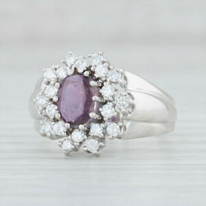 1.07ctw Ruby Diamond Cluster Halo Ring 14k White Gold Size 7.75