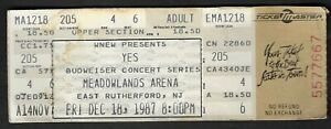 """1987 East Ruthgerford,NJ - Meadowlands Arena """"Yes"""" Concert Ticket"""