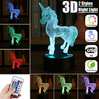 USB Horse Animal 3D LED Night Light 7 Color Change Table Desk Lamp Lighting Gift