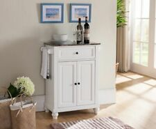 Kings Brand Furniture - White With Marble Finish Top Kitchen Storage Cabinet