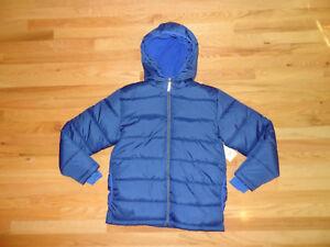 New Boys Fleece Lined Winter Puffer Bubble Jacket Coat Full Zip Blue L 10/12