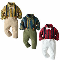 Kids Boys Gentleman Outfits Suit Casual Tops Long Pants Baby Toddler Clothes