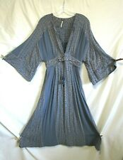 EUC! Free People Modern Kimono Bell Sleeves Blue Maxi Dress Rtl $168 Women Sz 6