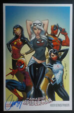 J Scott Campbell Sdcc 11x17 Art Print Signed Spiderman Black Cat Deadpool Silk