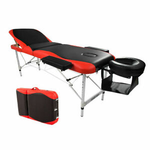 Portable Fold Massage Table Facial SPA Bed Tattoo w/Free Carry Case Black & Red
