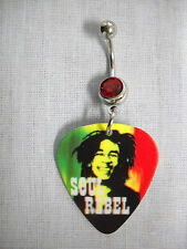 RASTA COLORS BOB MARLEY SOUL REBEL PICTURE GUITAR PICK RED CZ BELLY BUTTON RING