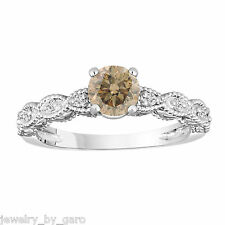 CHAMPAGNE & WHITE DIAMOND ENGAGEMENT RING VINTAGE STYLE ENGRAVED 14K WHITE GOLD