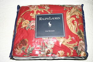 Vintage Ralph Lauren DANIELLE RED Floral Ruffled TWIN BEDSKIRT New (old stock)
