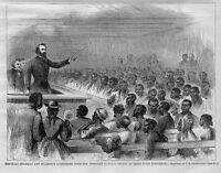 BLACK HISTORY FREEDMEN AT TRENT RIVER SETTLEMENT CHURCH NEGRO 1866 ENGRAVING