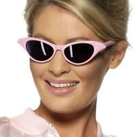 1950's Pink Lady Sunglasses Fancy Dress Grease Shades 50s Dark Lens Sun Glasses