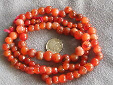 "27"" Strand Vintage African Trade Beads Carnelian Agate Graduated"
