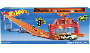 Hot Wheels Super 6 Lane Raceway Comes With 5 Cars Models Vary New Sealed