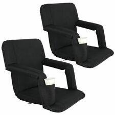 Segawe Portable Reclining Bleachers Bench Stadium Seat Chair - Black (Set of 2)