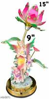 "15"" Tall Flower Touch Lamp with 9"" Inch Angel Statue Night Lamp New"