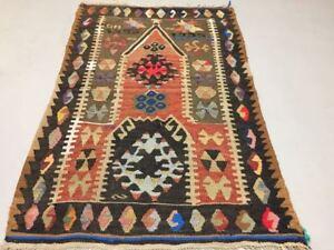 Traditional Turkish Kilim Rug shabby vintage wool country home Kelim 110x72cm