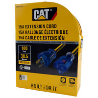 Caterpillar CAT CKEX01-100 Heavy Duty Contractor 15A 12/3 Extension Cord, 100ft.
