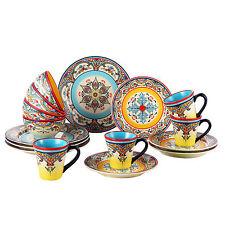 Mediterranean Dinnerware Set Service for 4 Spain Dishes Dish Earthenware Kitchen