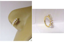 Nose Nostril Hoop Ring 18 gauge 18g 18k Yellow Gold Plated 5 Clear Cz Crystals