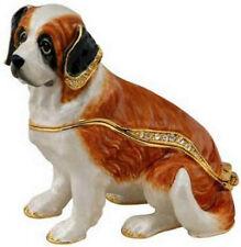 Magnificent St. Bernard Dog Jeweled Trinket Box Phb